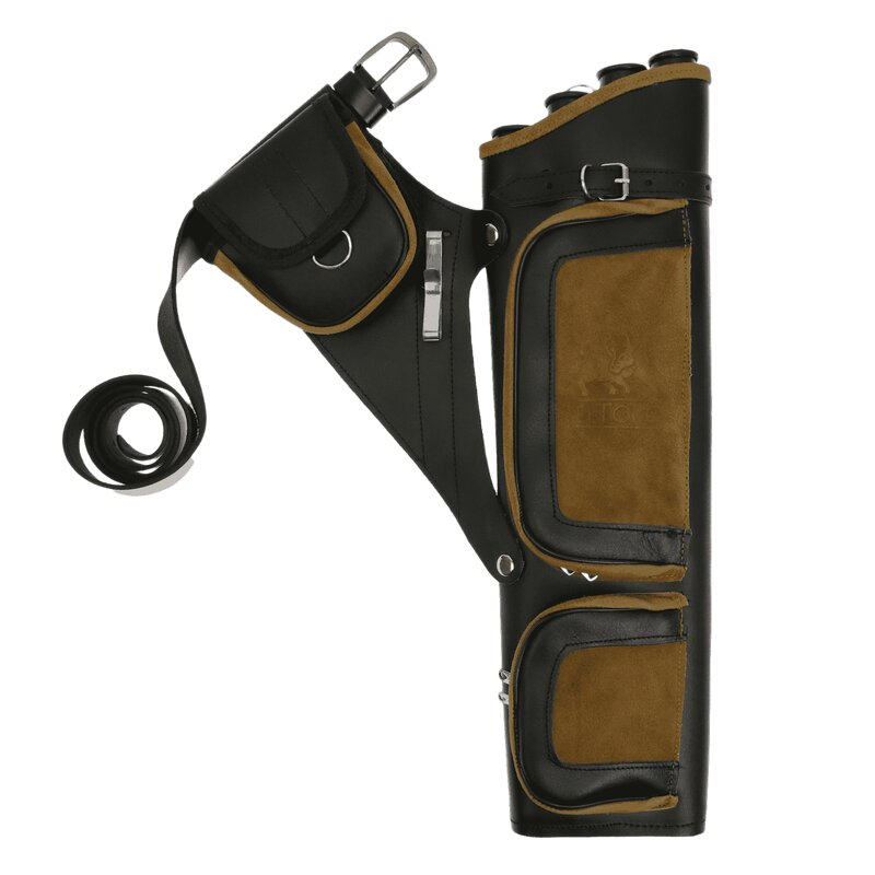 elTORO Professional Side Quiver Made of Smooth and Suede Leather