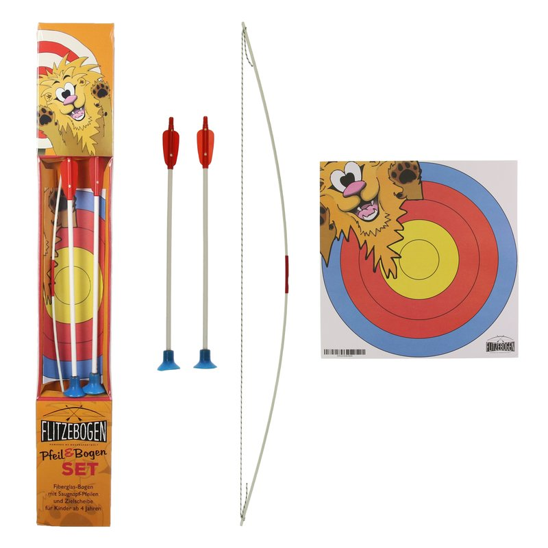 FLITZEBOGEN Freche Feder - Archery Set with 2 Arrows + Target Face