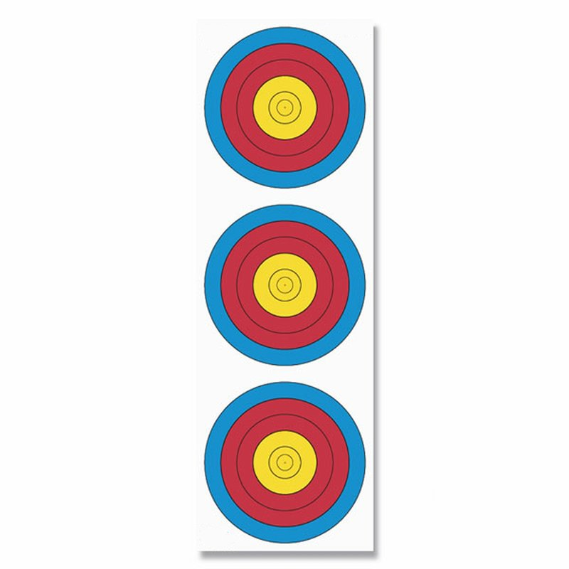FITA Bow Target Face - 3 Spots, vertical - Traffic Light Target Face - 22x66 cm